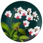 Plat de porcelaine d'orchidées et de papillons de
