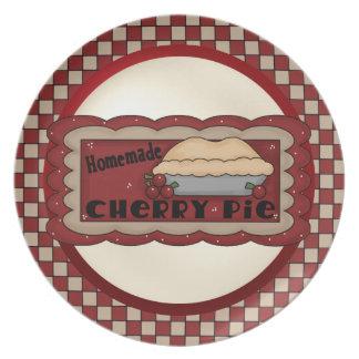 Plat de tarte aux cerises assiettes pour soirée
