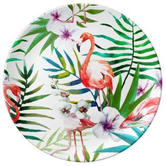 Plat décoratif de ketmie tropicale de flamant assiette en porcelaine