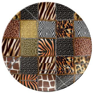 Plat décoratif de porcelaine de patchwork de assiette en porcelaine