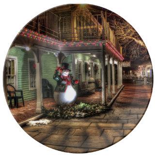 Plat décoratif de porcelaine de scène de Noël Assiette En Porcelaine