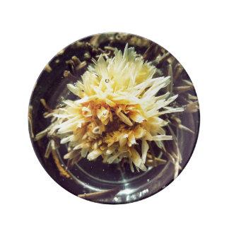 Plat décoratif de porcelaine de thé fleurissant assiette en porcelaine