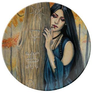 Plat décoratif de sorcière gothique d'automne de assiette en porcelaine