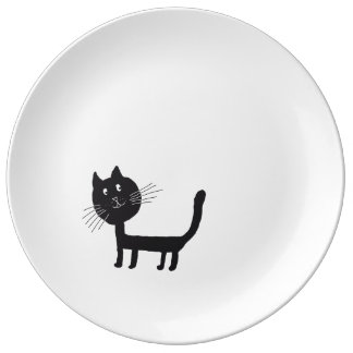 Plat décoratif noir heureux de porcelaine de assiette en porcelaine