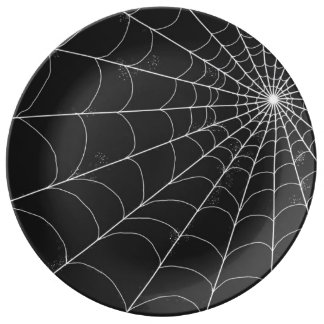 Plat décoratif - toile d'araignée sur le noir assiette en porcelaine
