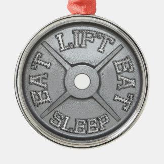 Plat d'haltère - l'ascenseur, mangent, dorment ornement rond argenté