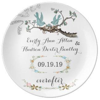Plat d'inséparable d'anniversaire de date de assiettes en porcelaine