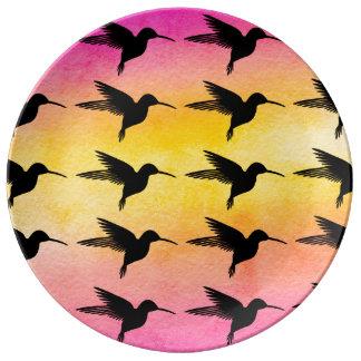 Plat en céramique de motif de Colorfull de colibri Assiette En Porcelaine