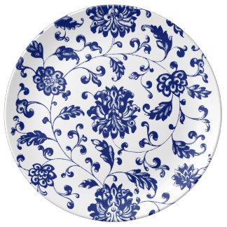 Plat floral bleu assiettes en porcelaine
