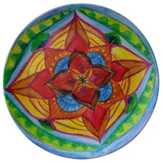 Plat floral peint à la main vert rouge de mandala assiette en porcelaine