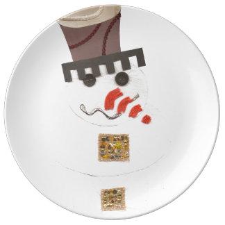 Plat géant de porcelaine de bonhomme de neige assiettes en porcelaine