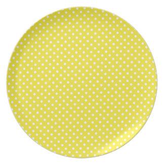 Plat jaune de mélamine de motif de point de polka assiettes en mélamine