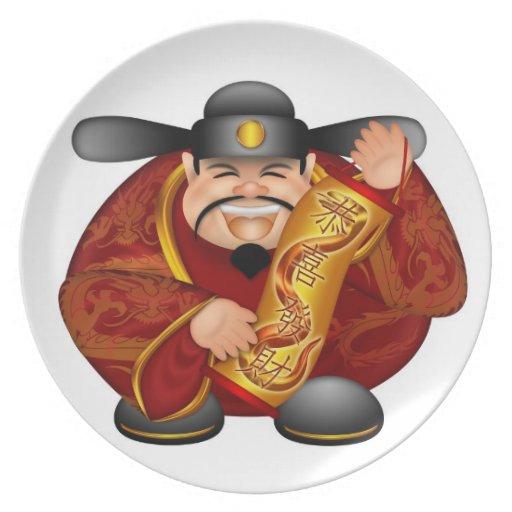 Plat lunaire chinois heureux de nouvelle année assiette pour soirée
