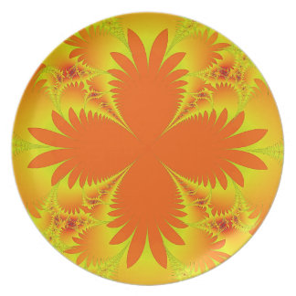 Plat orange de mélamine de frondes de paume assiette