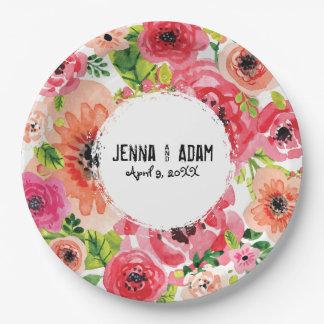 Plat orienté floral personnalisable du style   de assiettes en papier