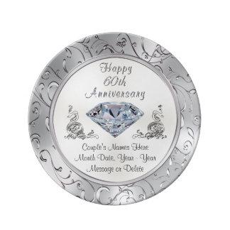 Plat personnalisé d'anniversaire de diamant assiette en porcelaine