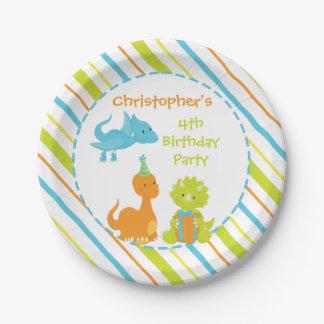 Plat personnalisé par Dino de fête d'anniversaire Assiettes En Papier
