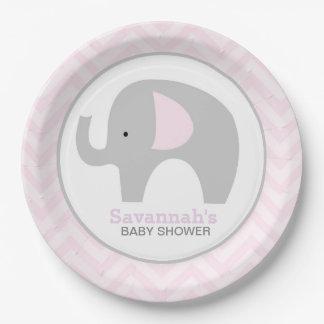 Plat rose de baby shower d'éléphant de mod de assiette en papier 22,8 cm