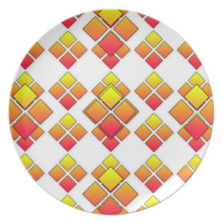 Plat rouge de diamant du carré 3D d'orange Assiettes