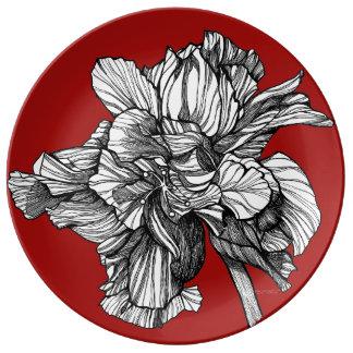 Plat rouge de porcelaine de la Chine de ketmie Assiettes En Porcelaine