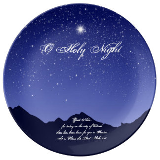 Plat saint de porcelaine de Noël de nuit d'O Assiette En Porcelaine
