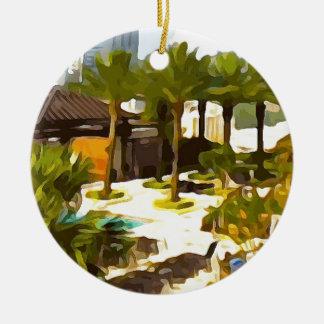 Plate-forme de piscine ornement rond en céramique