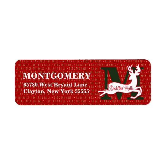 Plate-forme le renne blanc décoré d'un monogramme étiquette d'adresse retour