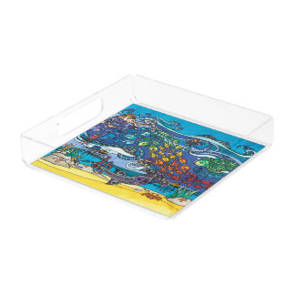 Plateau acrylique carré : Sous la série de mer