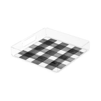 Plateau acrylique de guingan d'aquarelle petit
