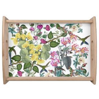 Plateau Animaux de fleurs d'oiseaux de colibri servant le