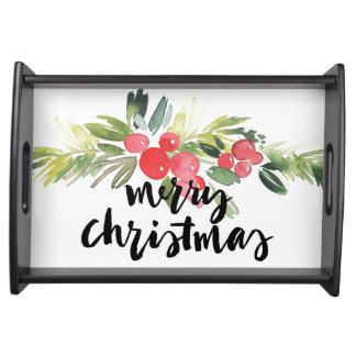 Plateau Aquarelle de Noël | - houx de Joyeux Noël
