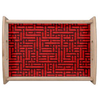 Plateau barres 3D rouges tissées métalliques servant le
