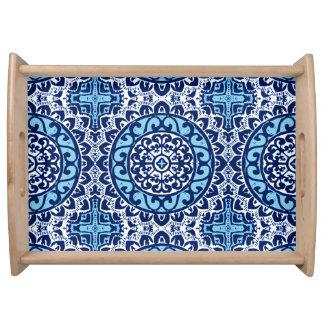 Plateau Batik de mandala de Sun, bleu marine et blanc du