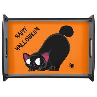 Plateau Chat noir et araignée de Halloween