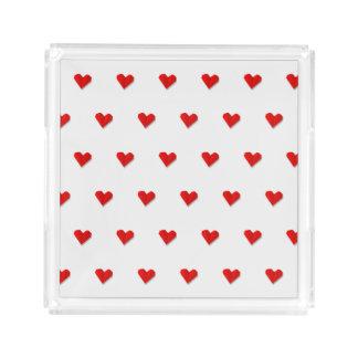 Plateau d'acrylique de motif d'origami de coeur