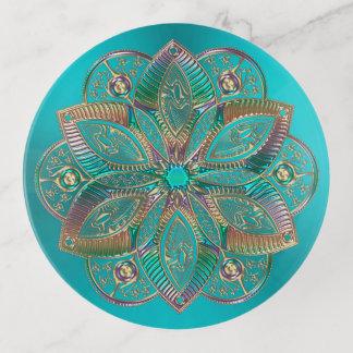 Plateau de bibelot de mandala de fleur de Lotus