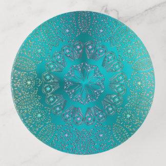 Plateau de bibelot de mandala de vert bleu de