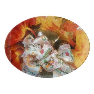 """Plateau de coupé de porcelaine de """"bel automne"""""""