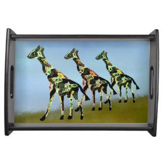 Plateau de portion de famille de girafe