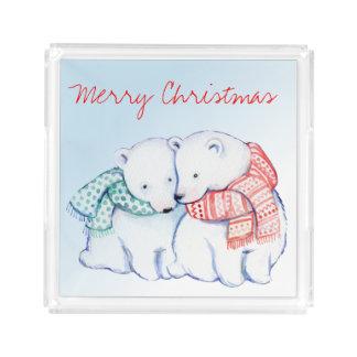 Plateau de portion de Joyeux Noël de deux ours