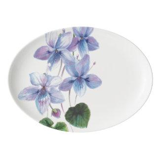 Plateau De Service En Porcelaine Beautés de fleur - violettes