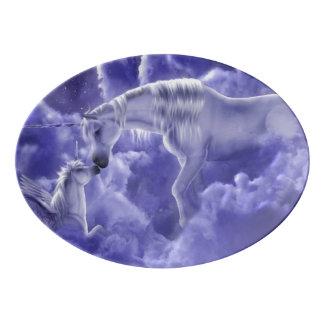 Plateau De Service En Porcelaine Ciel nocturne magique et mystique de licornes
