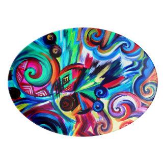 Plateau De Service En Porcelaine Explosion de couleur