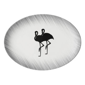 Plateau De Service En Porcelaine Flamant noir et blanc
