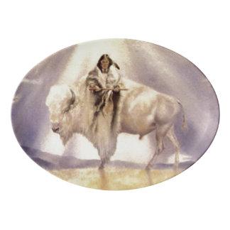 Plateau De Service En Porcelaine Légende de tribus de Lakota Sioux 7 de Buffalo