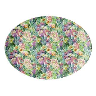 Plateau De Service En Porcelaine Motif de floraison exotique de cactus d'aquarelle