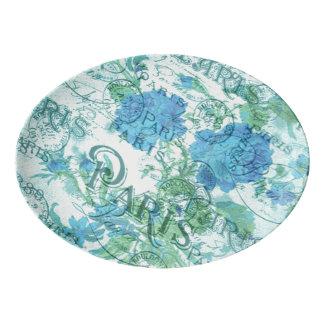Plateau De Service En Porcelaine Motif floral bleu vintage de cachet de la poste de