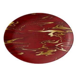 Plateau De Service En Porcelaine Rouge et conception de marbre d'or