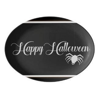 Plateau De Service En Porcelaine Typographie heureuse de Halloween