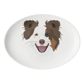Plateau De Service En Porcelaine Visage heureux border collie de chiens
